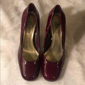 FRANCO SARTO 8 1/2 chunky heels patient leather.